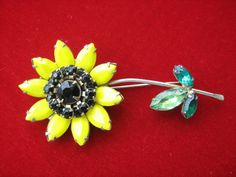 Vintage sunflower brooch yellow garnet & green rhinestones #Unbranded