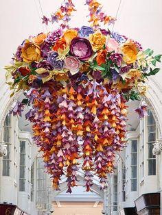 Celebrated British paper artist Zoe Bradley creates 2 huge paper floral chandeliers for Burlington Arcade London to launch new retail concept