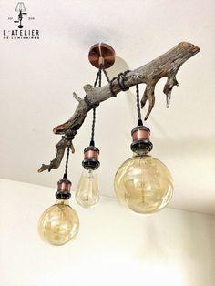 Luminaire suspendu bois_Plafonnier par AtelierDeLuminaires sur Etsy
