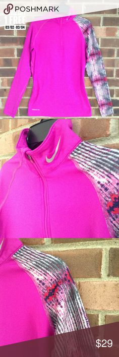 NWOT Nike Pro Combat pullover workout sweatshirt New without tag Nike Pro Combat dry fit 1/4 pullover workout sweatshirt/jacket, pink color with one patterned sleeve and thumb holes. Fitted fit. Size M. Smoke and pet free home, fast shipping. Nike Jackets & Coats