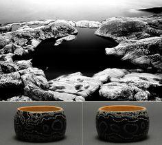 "Unique hand painted - Dot Painting technique - wooden bracelet ""Black River"" No. 2 by Matilda-Dolls & Bracelets  http://www.matilda-dolls.com/ (Inspired  by nature, Scandinavian simplicity and elegance, Black & White ... : Black pool - Stockholms Archipelago, Sweden; Photo: Matthias Siewert)"