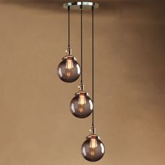 VINTAGE-FACTORY-INDUSTRI-PENDANT-LIGHT-SMOKY-GLASS-GLOBE-SHADE-CEILING-LAMP