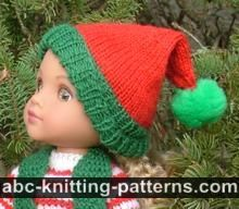 ABC Knitting Patterns - Santa's Elf Outfit for 14 inch Dolls: Striped Sweater
