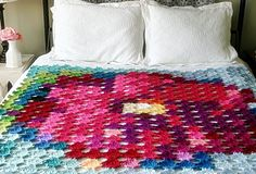 Pointillism Posie Crochet Pattern Granny Square by FeltedButton, $5.50