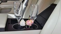 Custom design and engraved champagne flutes for the bride and groom.