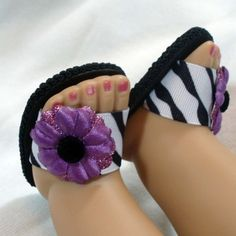 Spring Sandals Zebra Stripe and Purple Glitter Flowers