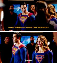 """""""Just want to thank you all for your hard work, protecting Earth"""" - Clark and Kara #Supergirl"""