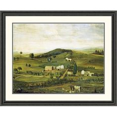 Global Gallery An American Farm: Fall View from the East Framed Painting Print Size: