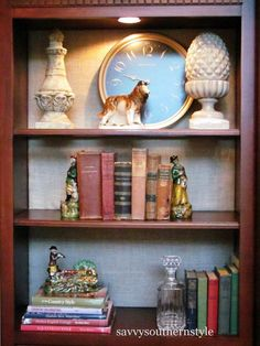Project Board with fabric for the back of a bookshelf    Savvy Southern Style: An Easy Change