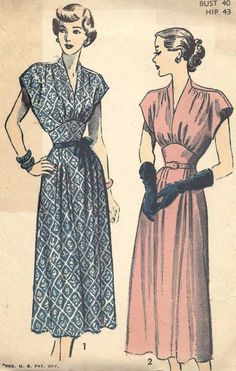 Vtg 1940s 1950s EVENING DRESS Advance Sewing Pattern 4892 B40 PLUS SIZE Cut
