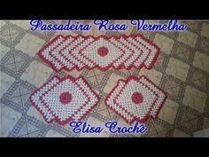Jogo de cozinha passadeiras em crochê rosa vermelha # Elisa Crochê - YouTube