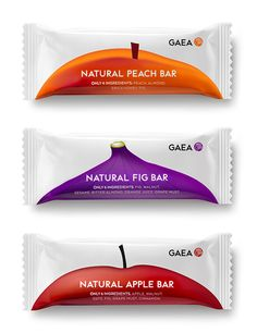 mousegraphics gives Gaea Fruit Bars a minimalistic new #packaging #design. (ORGANIC PACKAGING Veggie fruit bars)