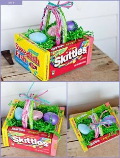 17 fun easter traditions to start with your family easter edible easter egg basket tutorial from krazy coupon lady what youll need 4 theater box candy boxes 2 laffy taffy or nerd ropes glue gun and glue cardboard negle