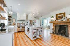 #kitchen #island #fireplace #farmhouse