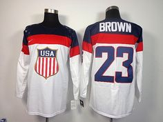 3da4b534406 Mens Nike USA Hockey 2014 Winter Olympics Games No. 23 Dustin Brown  Stitched Numbers   Names   Logos White Jersey
