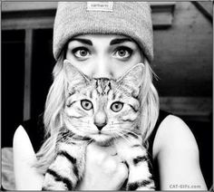 Artistic Cat GIF • Cat and human eye swap. Girl and her cute Kitty (black and white GIF) What would a Cat look like with human eyes? What would a human look like with Cat eyes?
