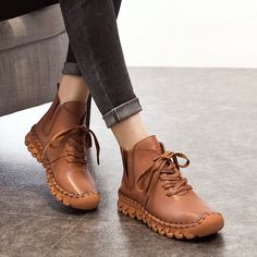 48.95$ Buy now - http://alinwt.shopchina.info/1/go.php?t=32799413781 - 2017 Vintage Genuine Leather Women Boots Flat Soft Cowhide Women's Shoes Fashion Casual Ankle Boots 2 Versions zapatos mujer #aliexpresschina
