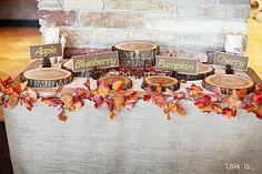 For a pie buffet, fall themed wedding