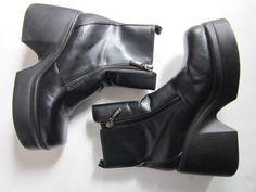 20% off sale --- Vintage 90s Black Leather CHUNKY Monster Platform Heel Motorcycle Chic Club Kid Raver Boots
