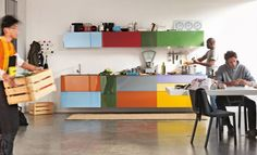 Kitchen Designs with Colorful Kitchen Cabinet Combinations   Home Decor