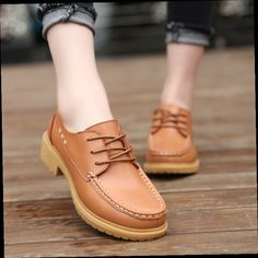 53.70$  Buy now - http://alieem.worldwells.pw/go.php?t=32683673819 - Fashion Lace-up Cow Leather Woman Oxfords Shoes Spring High Quality Square Heel Round Toe Single Shoes For Women Size 25-28 53.70$