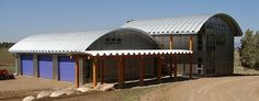 Steel buildings and metal buildings pre-engineered for building kit projects such as steel garages, RV Storage, Quonset Huts, Steel Barns, Carports. Steel Building Homes, Metal Building Kits, Building A House, Arch Building, School Building, Building Ideas, Quonset Hut Homes, Prefab Homes, Barn Homes