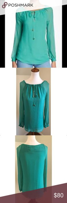 "Tory Burch $80 NWT Size 0 Silk Blouse 19"" armpit to armpit 28"" shoulder to hemline Wide neckline with drawstring closure Long sheer sleeves with button cuffs Green 100% silk Lined bodice - 100% polyester Tory Burch Tops Blouses"