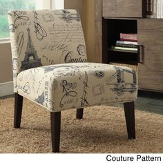 "Acme Reece Linen Script Accent Chair (Couture Pattern, 30 x 23"" x 33""), Brown (Fabric)"