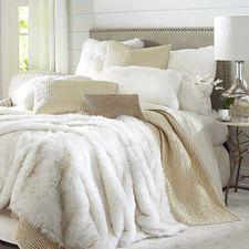 Faux Fur Arctic Fox Blanket & Sham Fur Comforter, Faux Fur Bedding, Gold Bedding, Gold Pillows, White Bedding, Comforter Sets, Pillow Shams, Pillow Covers, Minimalist Bedroom