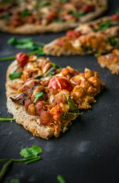 Individual Indian Tikka Masala Pizzas with Whole Wheat Crust (Vegan) | To make vegan use a vegan cheese