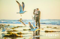 Tim and Erin on a gorgeous sunset at Carlsbad, CA. Beautiful weather for this engagement session, with lots of birds! From this image, it is hard to tell how cold it was!  fonyatweddings.com