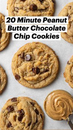 Delicious Cookie Recipes, Easy Cookie Recipes, Baking Recipes, Yummy Food, Vegan Chocolate Chip Cookies, Peanut Butter Cookies, Vegan Desserts, Vegan Recipes, Vegan Treats