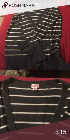 Striped Mossimo Cardigan Sweater Super cute. It says size XXL but I think it fits smaller. Definitely seems to be a juniors XXL. Good used condition!  It's a bluish gray. Mossimo Supply Co Sweaters Cardigans