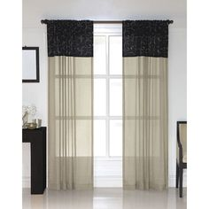 Westgate Black Embroidered Sheer Curtain Panel Pair   Overstock.com Shopping - Great Deals on Sheer Curtains