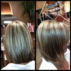 Light  Natural level 5 with 25% gray, lifted highlights to pale yellow and toned with Level 9 ash violet, level 6 neutral lowlights for added dimension.