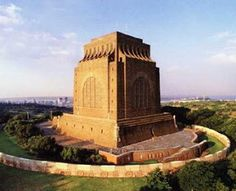 The Voortrekker Monument in Pretoria, South Africa: Little House on the Prairie meets colonial violence meets monumental fascist-esque architecture. Very special to the Afrikaner people Pretoria, Zimbabwe, Monuments, Photo Forum, Namibia, Port Elizabeth, Kruger National Park, To Infinity And Beyond, African History