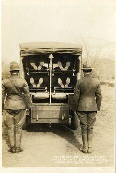 Ambulance drill. Four litters loaded. World War 1 (via otisarchives3)