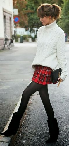 Street FAshoin: Cute Red Wool Skirt with Black Pantyhose&Chic Handbag And White Sweater
