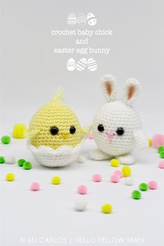 Free crochet pattern for baby chick and Easter egg bunny at https://helloyellowyarn.com/2017/03/28/crochet-baby-chick-and-easter-egg-bunny-free-pattern/