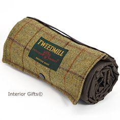 Tweedmill Walker Companion Tweed Picnic Rug With Waterproof Backing Compact Individual Lightweight Small Blanket Brown Beige