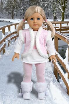 Snowflake - Clothes for 18 inch Doll - 4 Piece Outfit - Leggings, Long Sleeve…
