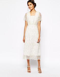 Image 1 - Soma London - Maxi robe vintage en dentelle avec broderies métallisées