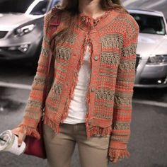 Ethnic Style Round Neck Long Sleeve Tassels Knitted Women's Cardigan