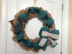 Burlap wreath with Teal and chevron