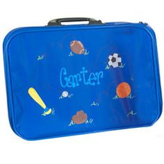 Personalized Sports Suitcase  - Our Personalized Sports Suitcase is decorated with lively sports balls! Your child's name takes center stage making the suitcase uniquely his! The suitcase is crafted of soft, durable, water resistant PVC vinyl, and boasts zipper closures, storage pockets with stay-put elastic straps, a lock and two keys.