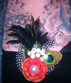 Orangeorange fascinator feather feather by msformaldehyde on Etsy, $30.00