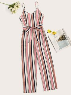 Striped Belted Wide Leg Cami Jumpsuit Women Spaghetti Strap Clothes Summer Sleeveless Ladies Jumpsuits Size S Color Multi Girls Fashion Clothes, Teen Fashion Outfits, Cute Fashion, Outfits For Teens, Girl Fashion, Clothes For Women, Teenager Outfits, Cute Girl Outfits, Cute Summer Outfits