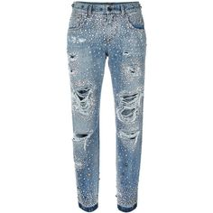 Dolce & Gabbana rhinestone ripped boyfriend jeans ($6,215) ❤ liked on Polyvore featuring jeans, pants, blue, blue jeans, boyfriend fit jeans, button-fly jeans, destroyed jeans and ripped jeans