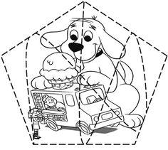 Actividades para niños preescolar, primaria e inicial. Plantillas con puzzles recortables para imprimir para niños de preescolar y primaria. Puzzles recortables. 16