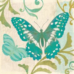 Teal Butterfly Painting Print on Wrapped Canvas